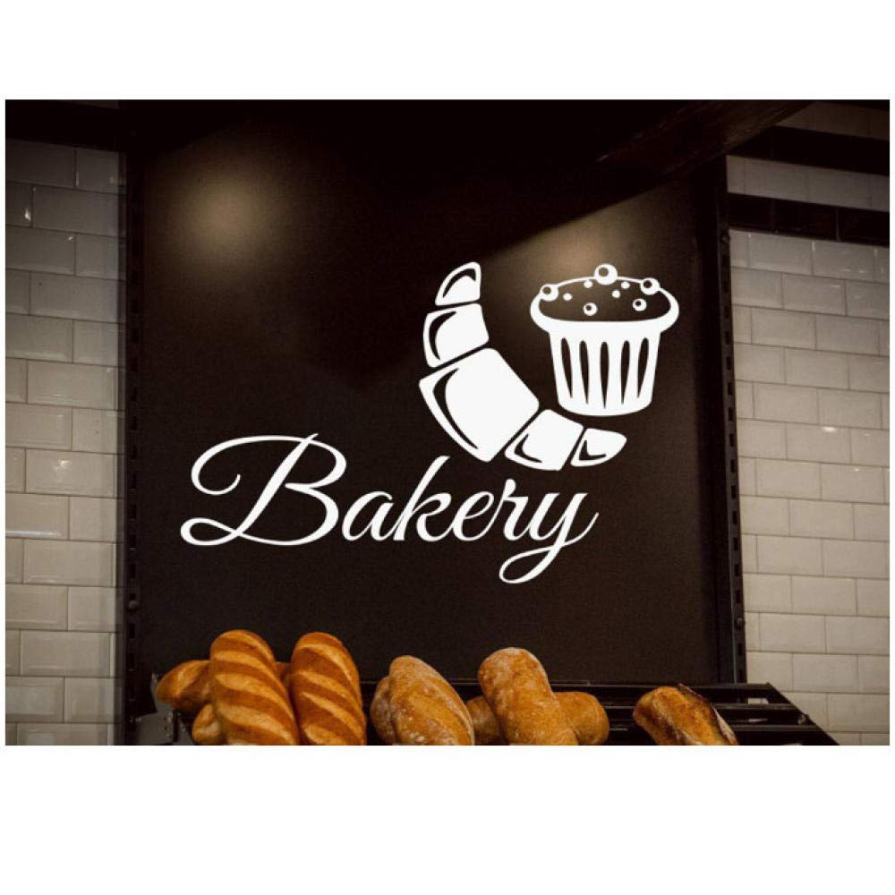 xjpgkd Bakeshop Sign Wall Window Decals Removable Interior Decoration Cupcakes Bread Pastry Shop Vinyl Wall Stickers Posters 42X27 cm by xjpgkd