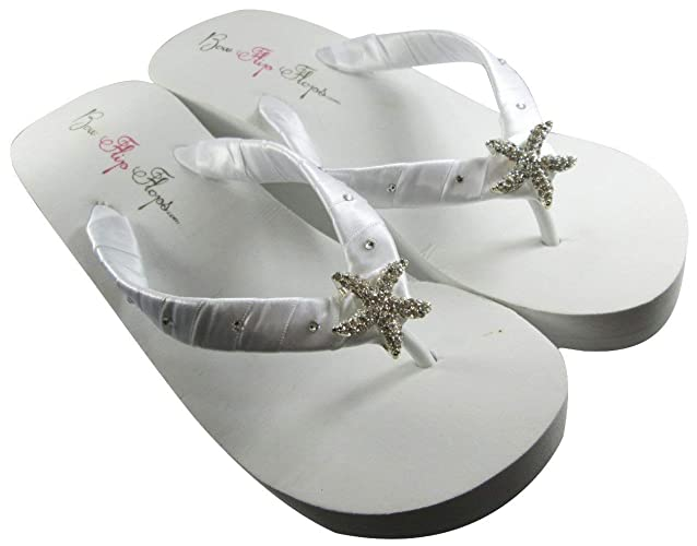 6dbb873455e40 White High Wedge Starfish Swarovski Flip Flops Womens Bridal Wedding  Platform Heel Satin