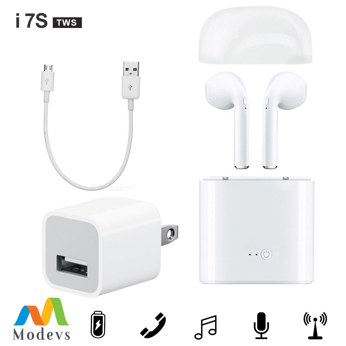 Best White Bluetooth Earbuds Bundle Modevs Wireless Headphones Earpieces Earphones With Charging Case And Micro Usb