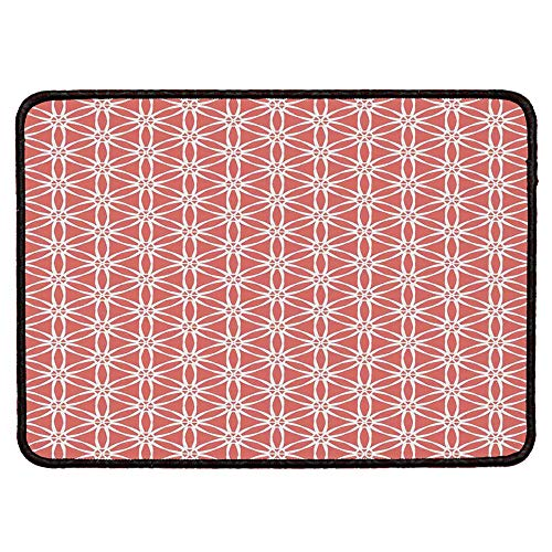Coral Decor Personalized Mouse Pad,Simplistic Linear Sunflower Tied Bound Crochet Damask Floral Lace Tiles Motif for Work Game,9.84''Wx11.81''Lx0.12''H (Tile Ivory Lace)
