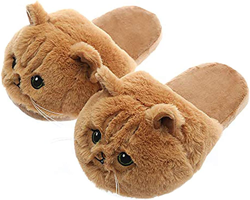 Cute Plush Animal Cat Slippers Home Warm Kitten Slipper Indoor Berdroom Shoes for Kids Adults