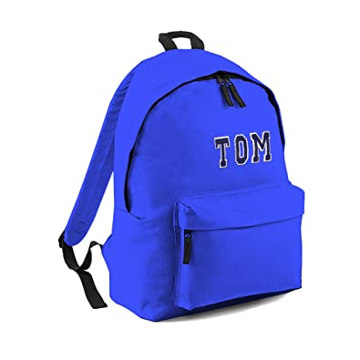 edc6e0682ee4 Personalised Backpack For Kids. Blue Bag - Blue Letters  Amazon.co.uk   Shoes   Bags