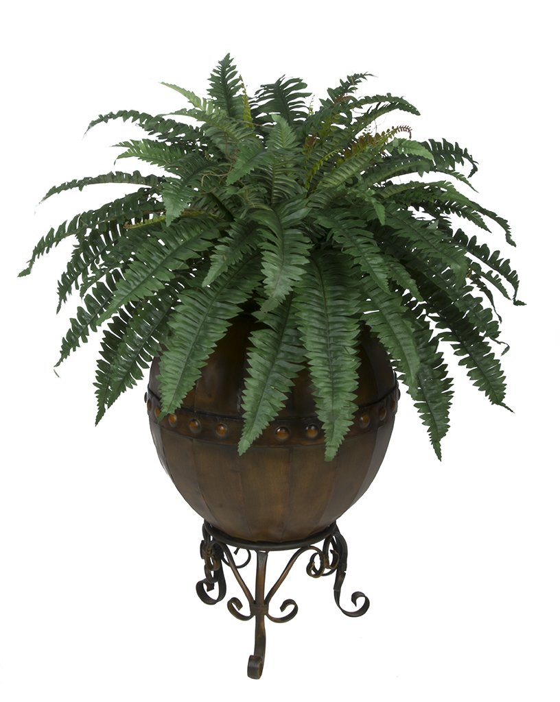 House-of-Silk-Flowers-Artificial-Fern-in-Designer-Pot-with-Stand