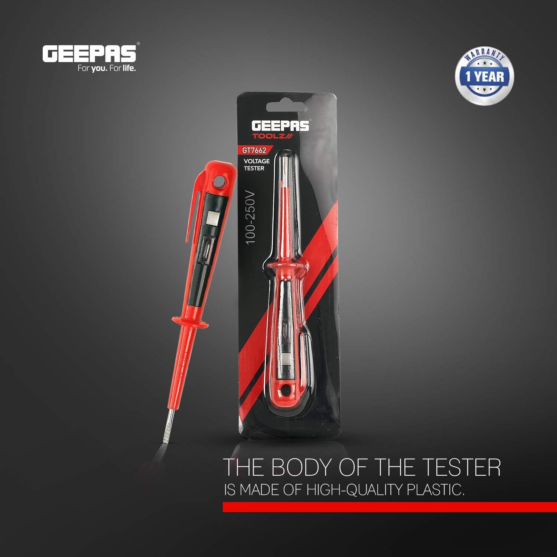 Geepas 3 x 150 mm Voltage Tester 100-250V Pocket Clip Voltage Tester