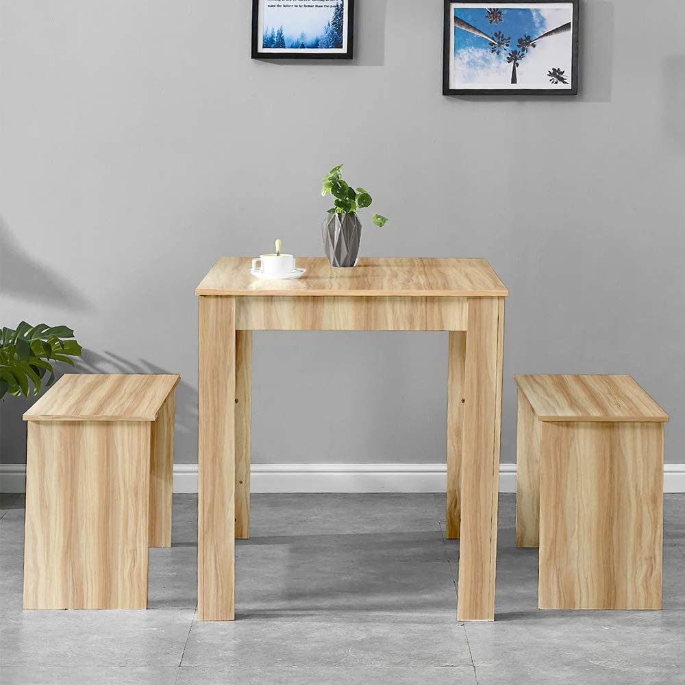 HomeSailing Grey Dining Table and 2 Benches Wooden for Kitchen 3 Piece Small Dinette Table and Chairs Set with 4 People Small Apartment