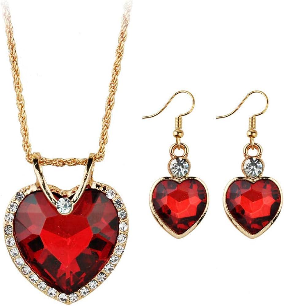 Cena de boda europea y americana de gama alta de lujo en forma de corazón de cristal pendientes de circón collar conjunto de joyas mujeres
