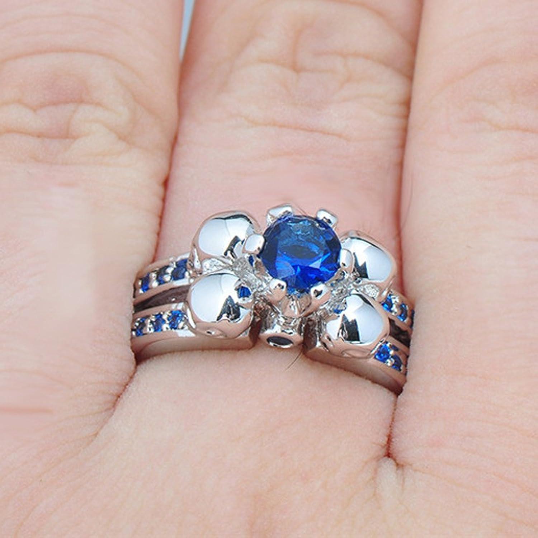 Amazon.com: T&T ring Punk Blue Sapphire Ring Skull Wedding Party ...