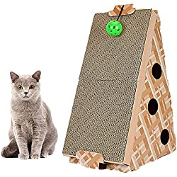 PetEnjoy Cat Scratching Post Kitty Scratch Pad Pet Scratcher Cardboard Lounge Bed Puppy Dog Toys with Cat Bell(Triangle hanging ball)