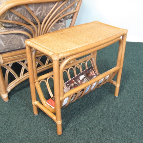 Rattan Magazine End Side Table (Honey finish) by urbandesignfurnishings.com