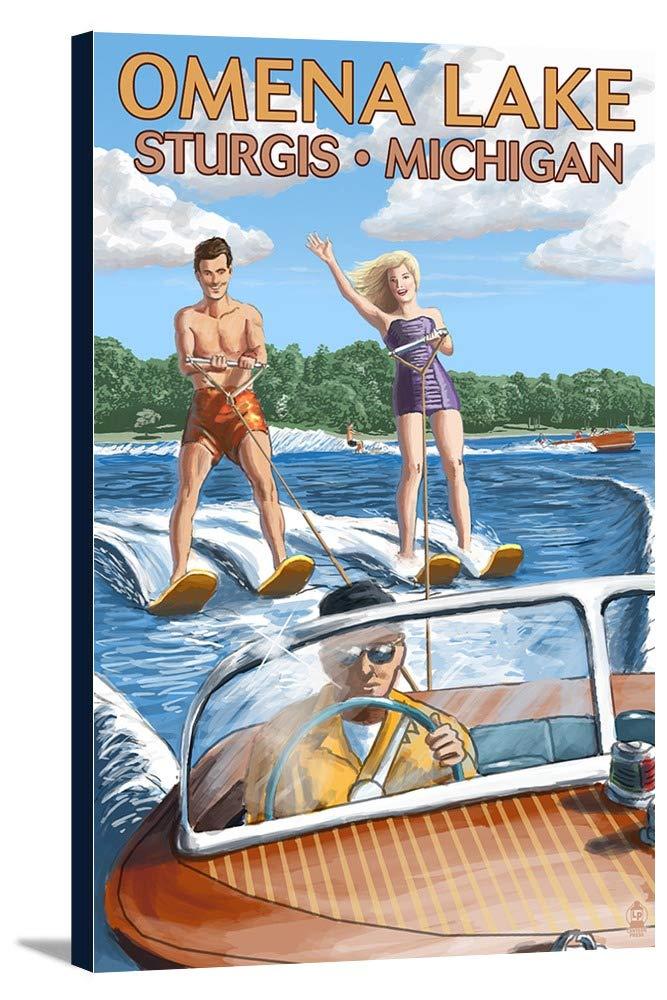 Omena湖 – スタージス、ミシガン州 – 水スキーと木製ボート 24 x 36 Gallery Canvas LANT-3P-SC-57073-24x36 24 x 36 Gallery Canvas  B0184B0KYC