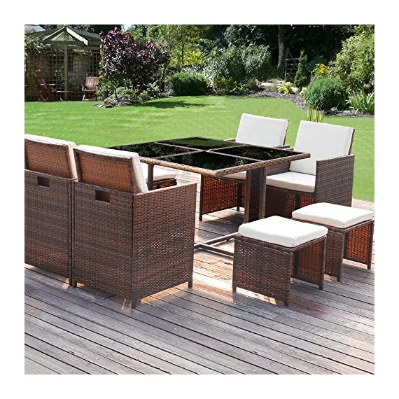 Homall 9 Pieces Patio Dining Sets Outdoor Furniture Patio Wicker Rattan Chairs and Tempered Glass Table Sectional Set Conversation Set Cushioned with Ottoman (Brown) - 【Durable and Beautiful】 All weather-resistant rattan to offer the perfect blend of style and durabilitythe,this outdoor dining set able to fit a variety of living space styles. 【Comfortable cushion】Ergonomically engineered for ultimate comfort,homall stylish rattan chairs come with thick sponged seat cushion and back cushion for more indoor and outdoor use. 【Reposition as your wish】This patio furniture sets clearance made with premium PE rattan.Lightweight and easy to move so you can reposition on a whim.Suit for having a drink with friends. - patio-furniture, dining-sets-patio-funiture, patio - 61O9hgoF7wL. SS570  -