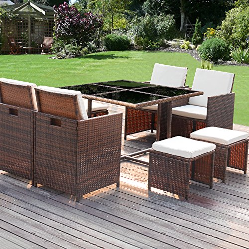 Homall 9 Pieces Patio Dining Sets Outdoor Furniture Patio Wicker Rattan Chairs and Tempered Glass Table Sectional Set Conversation Set Cushioned with Ottoman (Brown) (Used Porch Furniture)