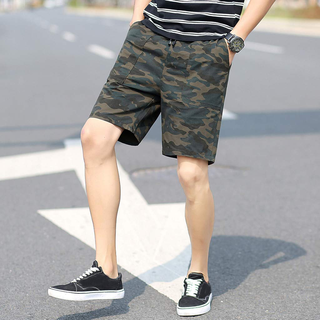 yoyorule Casual Summer Pants Mens New Summer Casual Loose Patchwork Camouflage Printing Beach Shorts Pants