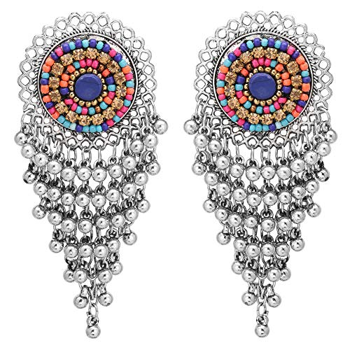 (Jwellmart Afghani Style Bohemian Tribal Oxidized Drop Dangle CZ Indian Earrings for Women and Girls (Multicolor) )
