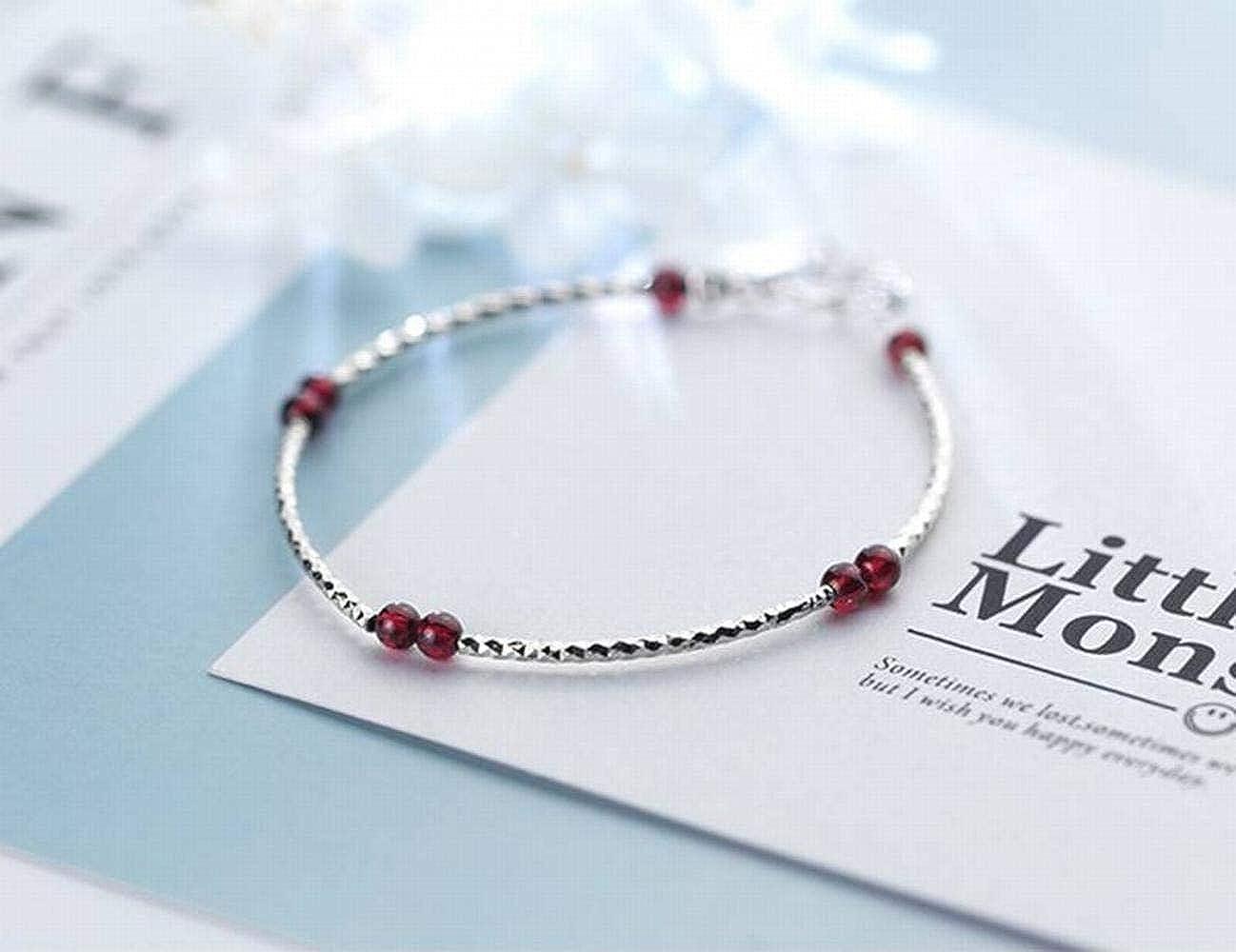 LOt Bangles Bracelets S925 Silver Bracelet Female Simple Garnet Bracelet Personality Nationality
