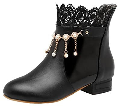 Women's Sweet Rhinestone Fringes Lace Splicing Pull on Ankle Booties Round Toe Low Block Heel Short Boots
