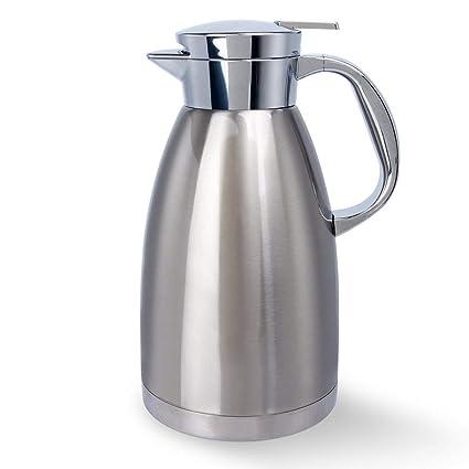 YIKALU Jarra Térmica Térmico al Vacío 1,8L Jarra Isotérmica de Acero Inoxidable Termo Cafetera Doble Pared Vacío para calientes y frías Café Jugo ...