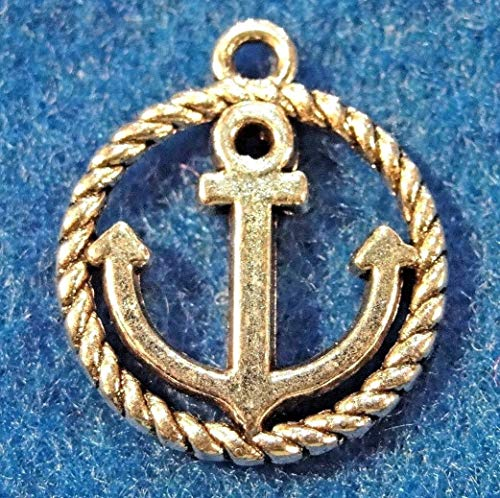 10Pcs. Tibetan Silver 3D Ships Anchor in Ring Charms Pendant Earring Drops Charms DIY Crafting by WCS
