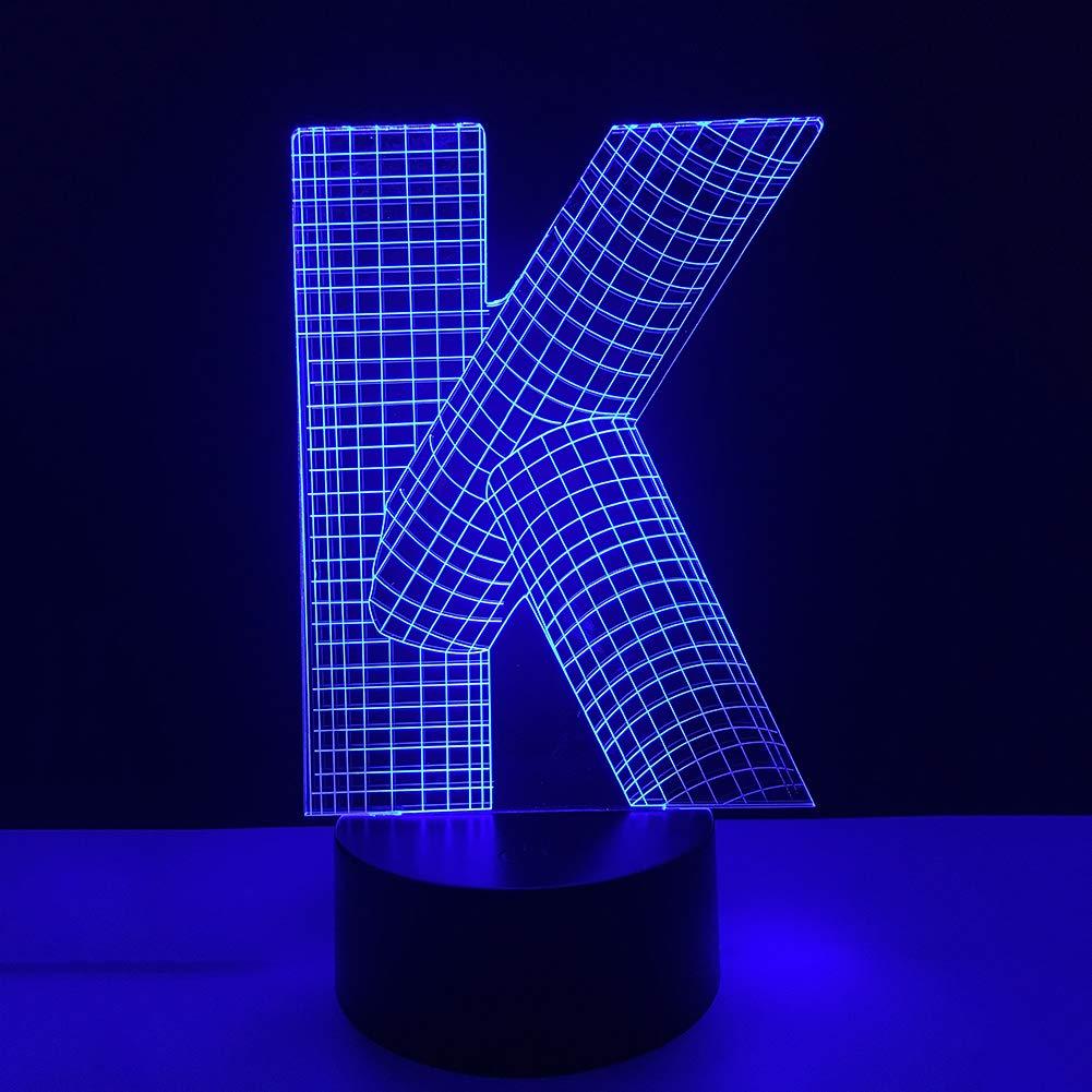 3D Noche De Luz, Mando USB Powered By, 7 Colores Cambio De Lámpara De Ilusión Óptica Para Hogar Oficina Dormitorio Decoración - Letra K: Amazon.es: Hogar