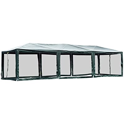 Outsunny 10' x 30' Gazebo Canopy Cover Tent with Removable Mesh Side Walls - Green : Garden & Outdoor