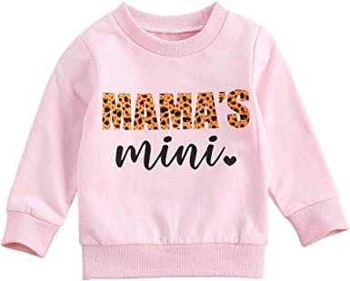 Mamas Bestie Print Baby Infant Toddle Sweatshirt Warm Crewneck Sleeve Shirts Pullover Tops Fall Winter Clothes