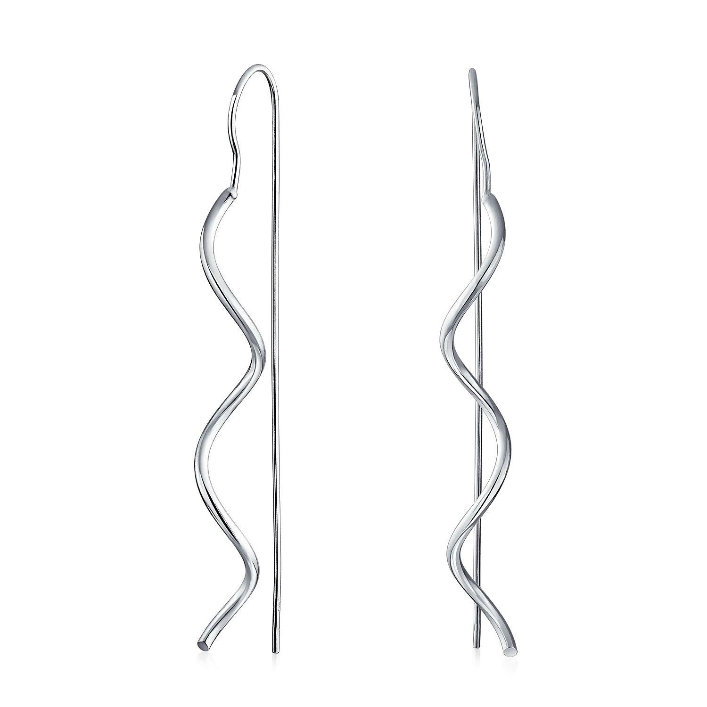 Bling Jewelry Wavy Dangle Sterling Silver Ear Threader Earrings SRN-DJ90544E