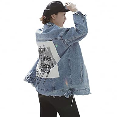 Huiwa Womens Denim Jacket Print Letter Vintage Ripped Jeans Jacket BF Style Blue One Size
