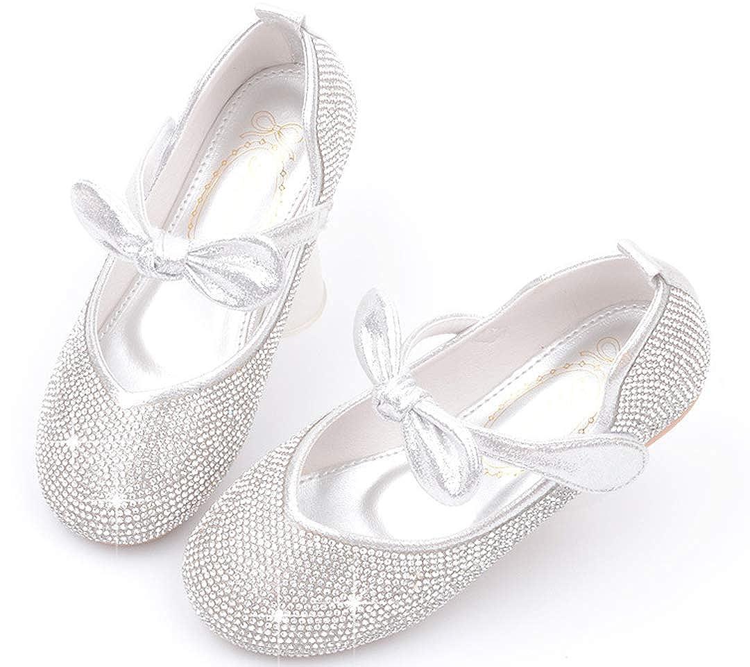 Toddler//Little Kid iDuoDuo Girls Princess Twinkle Rhinestones Mary Jane Dress Flats Bow Dance Shoes