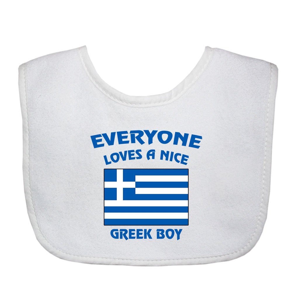 Everyone Loves A Nice Greek Boy Greece Greeks Soft Terry Cotton Baby Bib BIBBOYCOF045_W