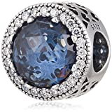 Pandora Charm Bead 791725NMB Woman Silver Blue Moonlight