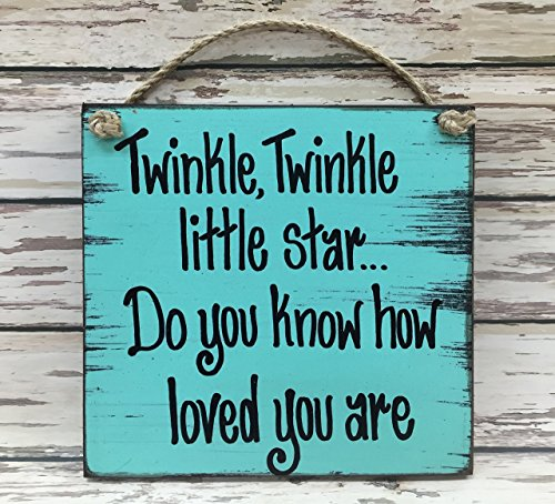 TWINKLE TWINKLE Little Star LOVE You Nursery Wood Wall Sign Reclaimed Plaque Blue Cream Tan *Perfect for a baby#039s room baby shower gift child#039s room etc