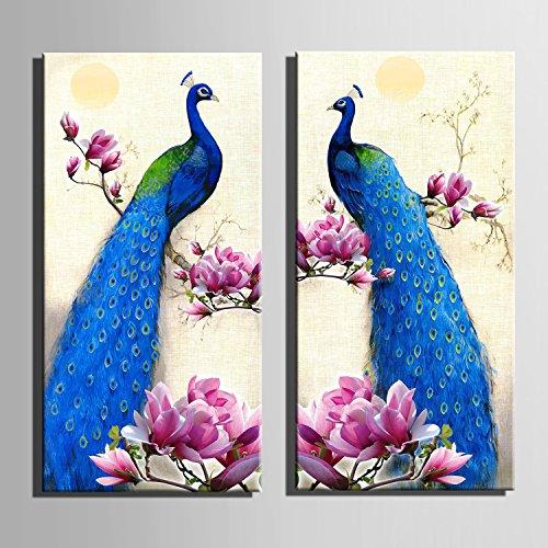 muzhen 2pcs paon bleu peinture d corative peintures sans cadre manger salle manger den jeux de. Black Bedroom Furniture Sets. Home Design Ideas