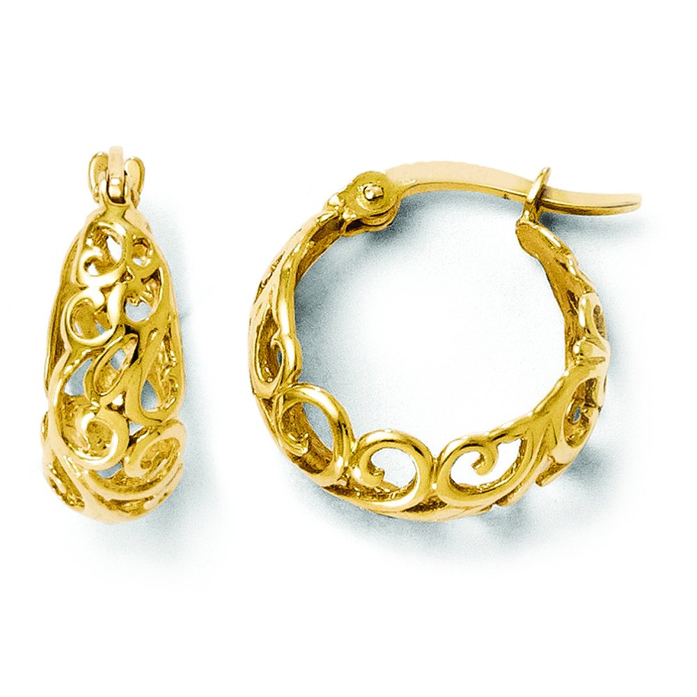 Leslies 14k Yellow Gold Polished Hinged Hoop Earrings 35E by Leslies