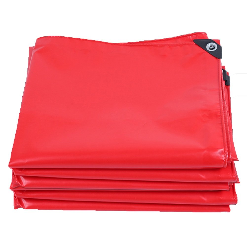 ターポリン 防水シート - 防水防水頑丈な防護柵防水戸棚防水シート防護PVC、厚さ0.45MM、420 \u200b\u200bG/M² (色 : Red, サイズ さいず : 4x4m) B07FQ1YVPS 4x4m|Red Red 4x4m