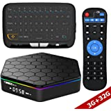WISEWO Android TV Player Set Top Box HD Video Media Player Amlogic S912 Octa Core CPU 3GB/32GB Smart Box Mini PC Support 4K2K 3D BT 4.0 Dual Band Wifi with Wireless Touchpad Mini Keyboard