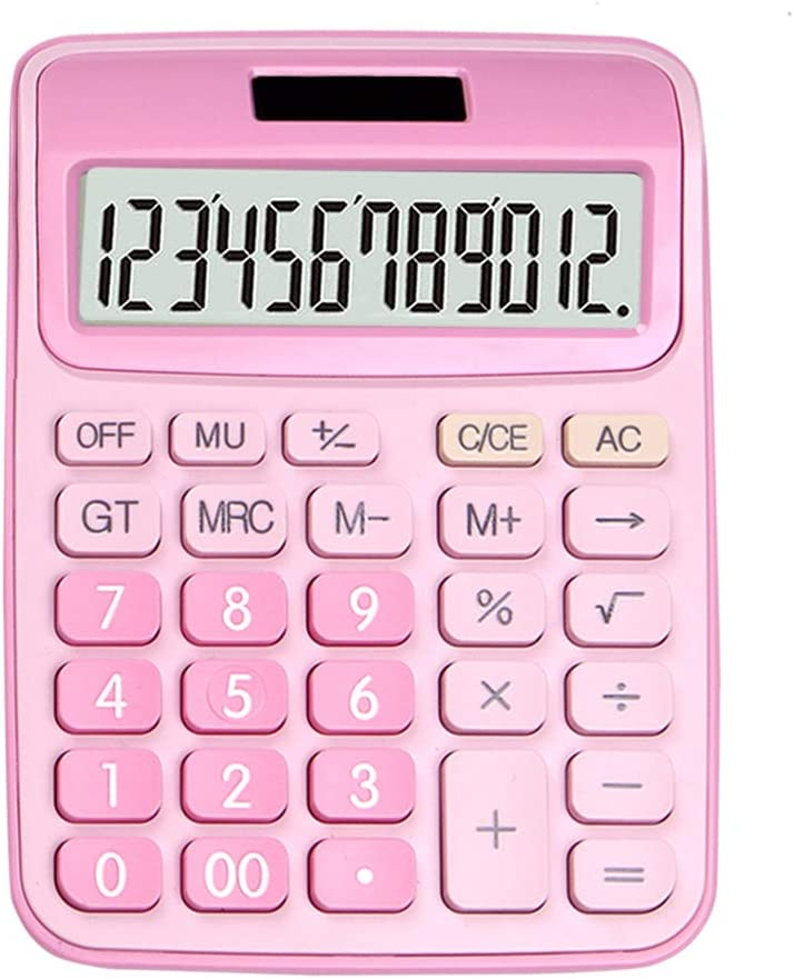 ONXE DC116 Standard Function Desktop Calculator with Dual Power Supply and 12-bit Large Display (Pink)