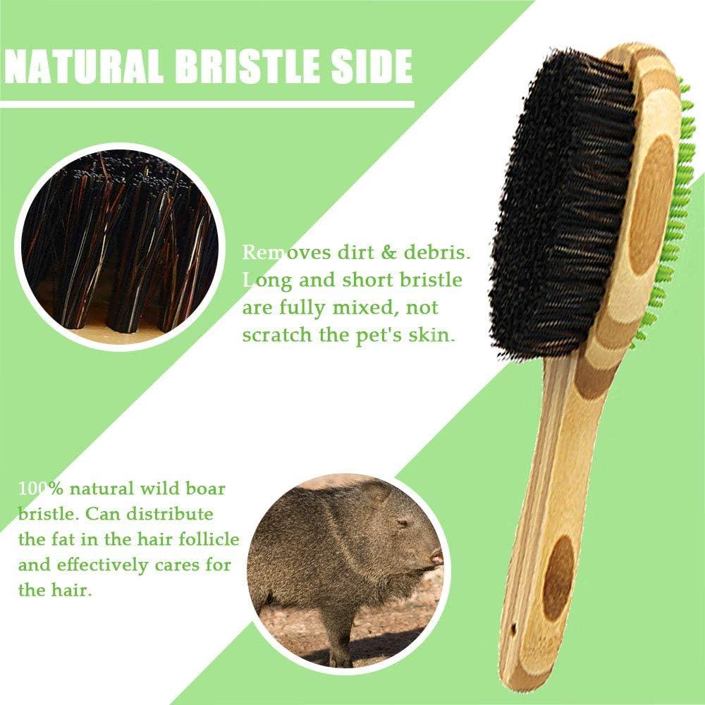 Sunwuun Cepillo para Mascotas Eliminar la Piel Suelta y la Suciedad Cepillo de bamb/ú para Mascotas con masajeador de Silicona para el Aseo del Perro