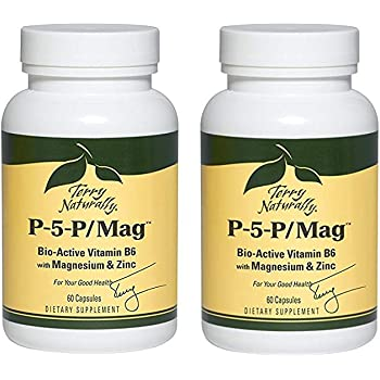 Terry Naturally P-5-P/Mag 2 Pack of 60 Capsules (120 Total) Bio-Active Vitamin B6 with Magnesium & Zinc