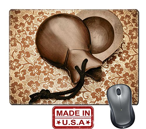 """Liili Natural Rubber Mouse Pad/Mat with Stitched Edges 9.8"""" x 7.9"""" IMAGE ID: 12893872 a pair of spanish castanets arranged like a heart on a patterned (Spanish Costume Idea)"""