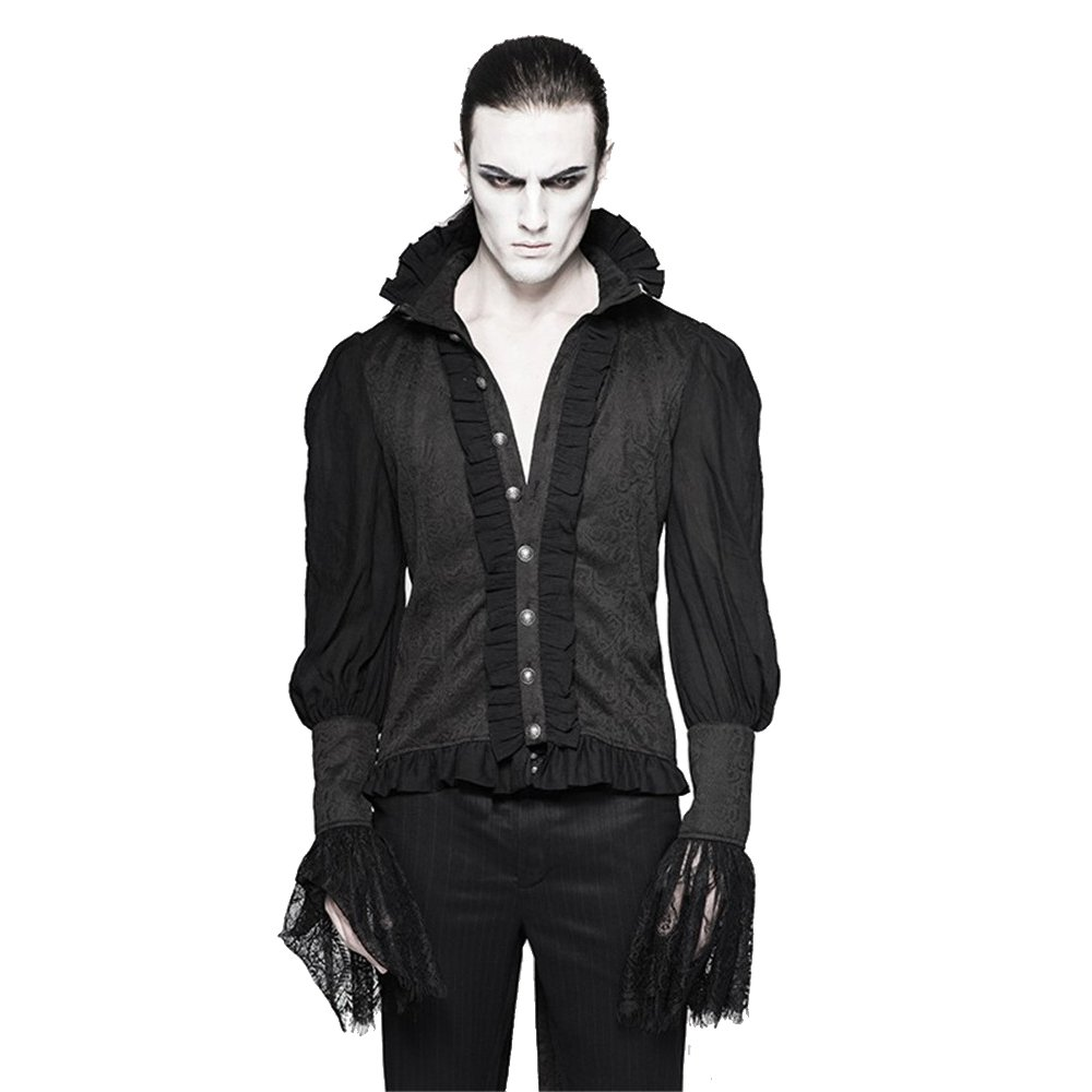 Gothic Men Lace Puff Sleeves Dovetail Shirt Victorian Stand Collar Casual Blouses TT001