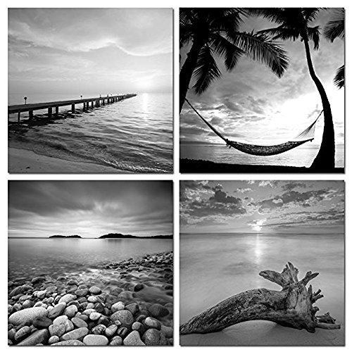 sechars - Black and White Beach Wall Art Seascape Painting Sunrise Scenery Picture Giclee Canvas Print Framed for Living Room Bedroom Bathroom Home Office Wall - And Wall Black Pictures White