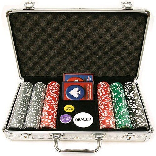 Carte Oob-Poker 2Mazzi+300 Fiches+5Dadi Valigetta Alluminio TOYLAND 79/3981