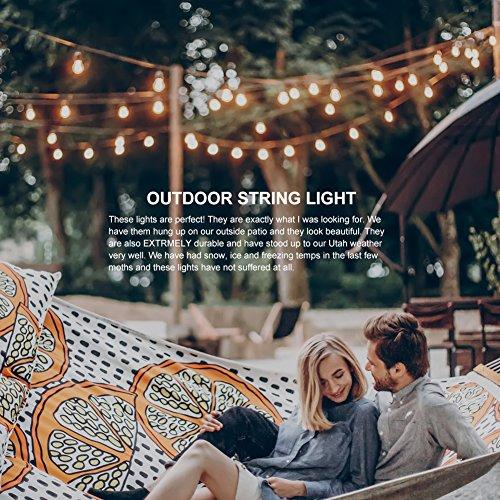 766ba3daa5f608 addlon 48 FT Outdoor String Lights Commercial Great Weatherproof Strand  Edison Vintage Bulbs 15 Hanging Sockets