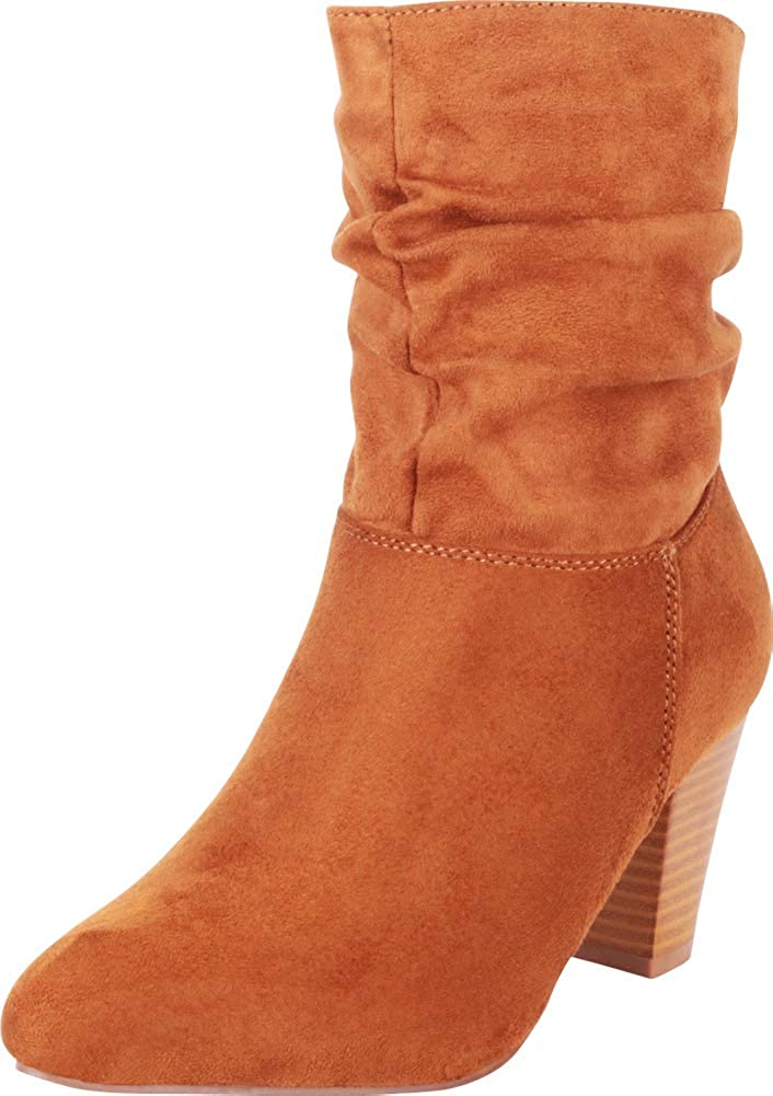 Tan Imsu Cambridge Select Women's Pointed Toe Ruched Slouch Chunky Stacked Heel Ankle Boot