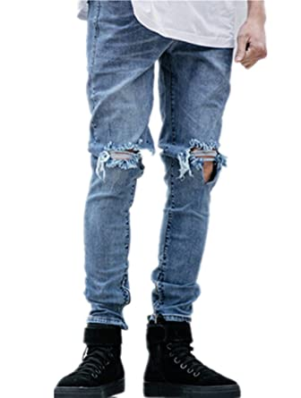 192df73e Sarriben Mens Slim Fit Jean Knee Hole Skinny Denim Casual Stylish Jean Pant  at Amazon Men's Clothing store: