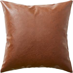 Fancy Homi Boho Thick Faux Leather Decorative Throw Pillow Covers, Modern Farmhouse Accent Solid Square Cushion Case Decor for Couch Sofa Bedroom Car Living Room (16x16 Inch/40x40 cm, Christmas Brown)