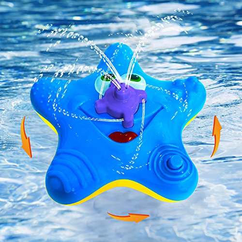 New ABIsedrin Baby Bath Toys,Starfish Bath Toys for Toddlers Boys Girls,Electronic Float Rotate Spray Water Toys For Pools and Bathtubs (Blue)