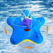 Abisedrin Baby Bath Toys,Starfish Bath Toys for Toddlers Boys Girls,Electronic Float Rotate Spray Water Toys For Pools and Bathtubs (Blue)