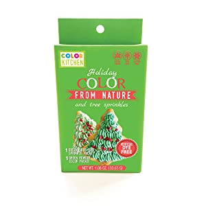 ColorKitchen Holiday Food Color and Christmas Sprinkle Set - Artificial Dye-free, Natural, Plant-Based Ingredients