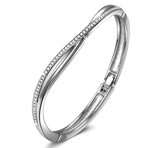 LADY COLOUR Women Present 7 in Cross Bangle Bracelet Made with Swarovski Crystals – Romantic Gifts for Her Hypoallergenic Jewelry Gift Box Packing, Nickel Free Passed SGS Test